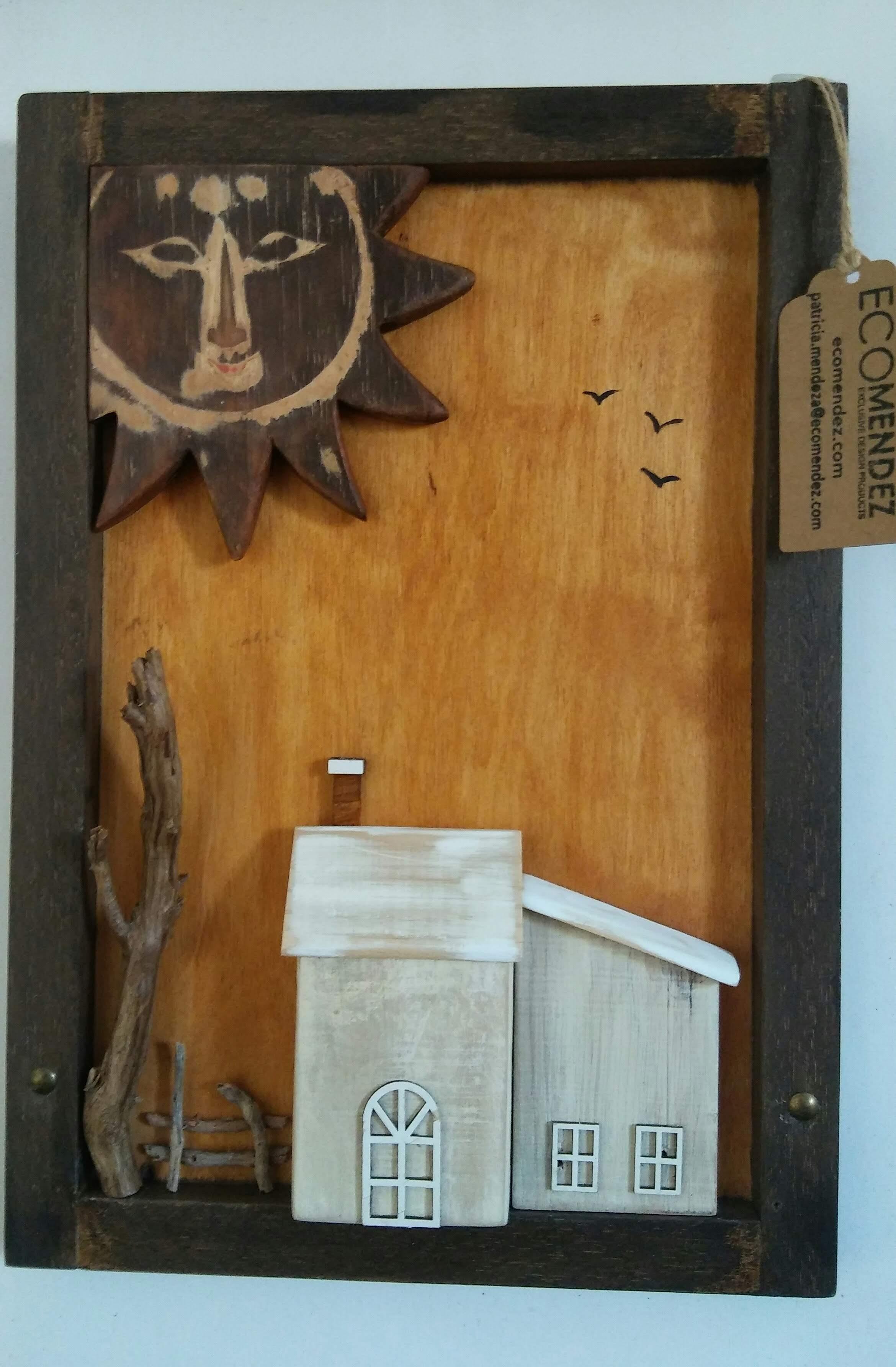 Cuadro de maderas recicladas
