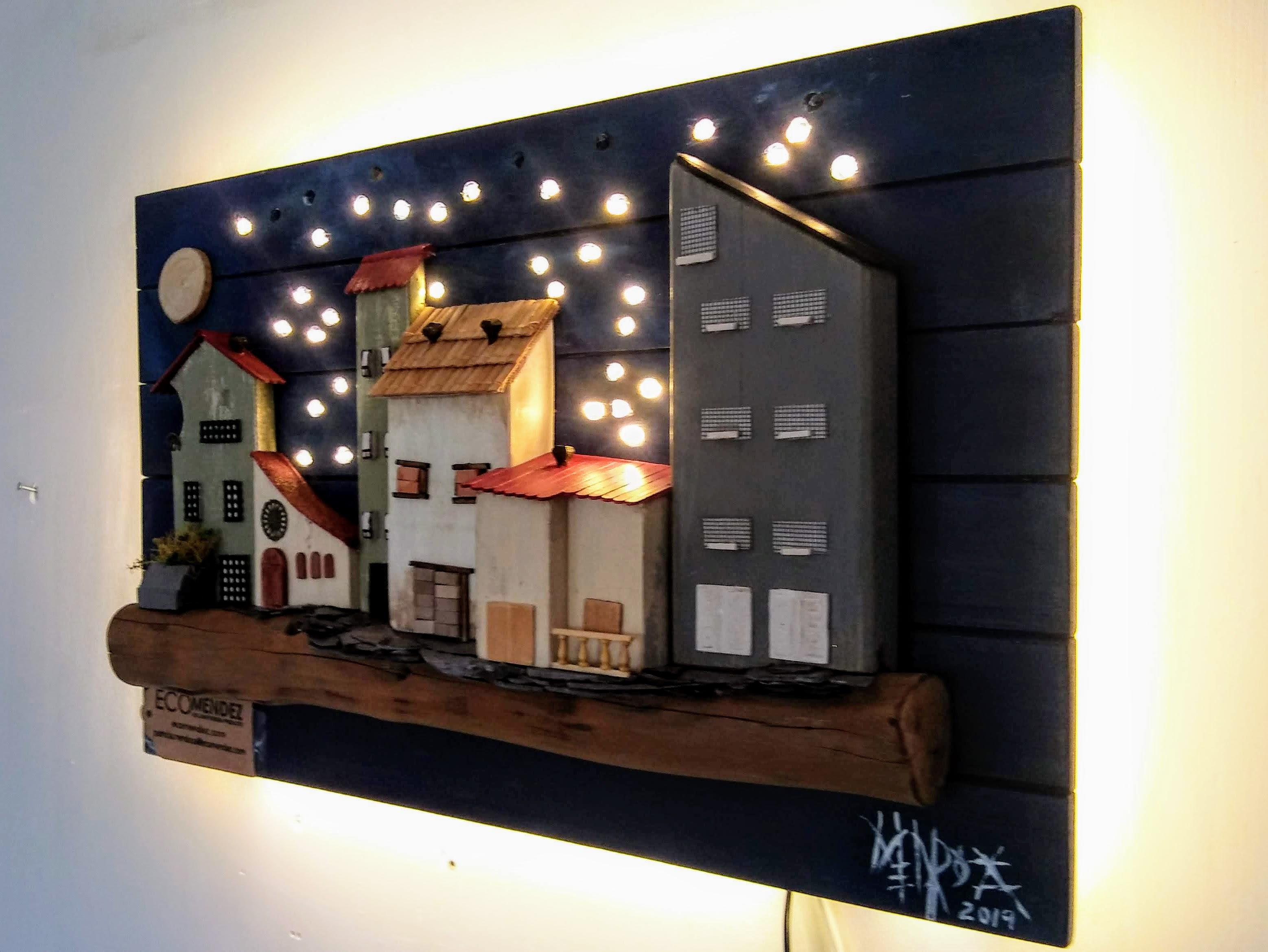 Cuadro lámpara maderas recicladas
