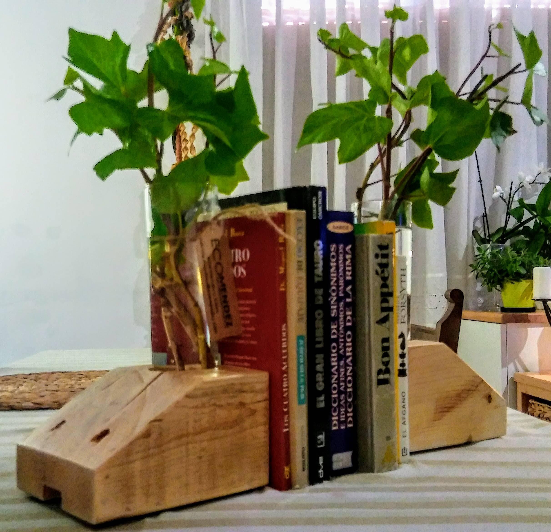 Sujeta libros de madera reciclada
