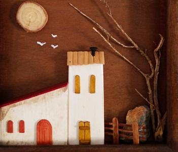 Cuadro de casitas en miniatura en maderas