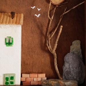 cuadro casitas de madera